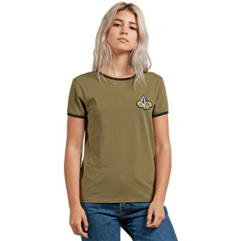 Volcom Dark Camo Keep Goin Ringer Green T-Shirt