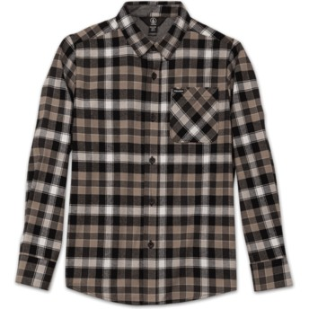 Volcom Youth Black Caden Plaid Black Long Sleeve Check Shirt