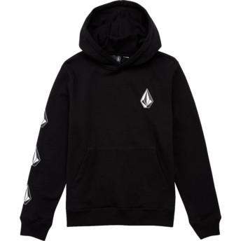 Volcom Youth Black Combo Deadly Stones Black Hoodie Sweatshirt