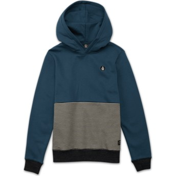 Volcom Youth Navy Green Threezy Blue Hoodie Sweatshirt