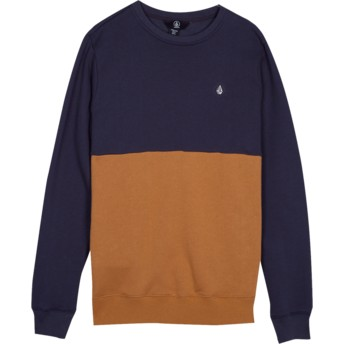 Volcom Youth Midnight Blue Single Stone Division Brown and Navy Blue Sweatshirt