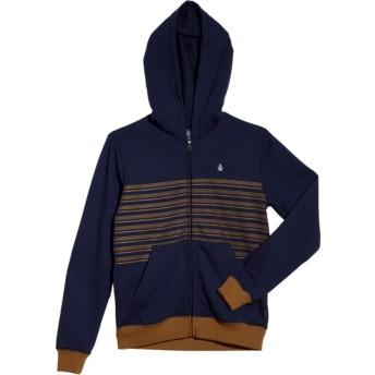 Volcom Youth Deep Blue Threezy Blue Zip Through Hoodie Sweatshirt