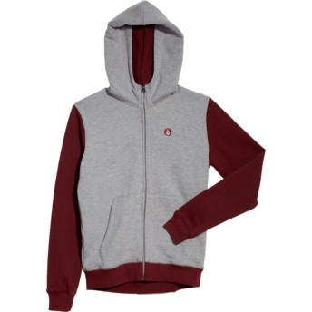 Volcom Youth Grey Single Stone Division Grey and Red Zip Through Hoodie Sweatshirt