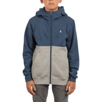 Volcom Youth Smokey Blue Single Stone Division Grey and Blue Zip Through Hoodie Sweatshirt