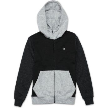 Volcom Youth Black Single Stone Colorblock Black and Grey Zip Through Hoodie Sweatshirt