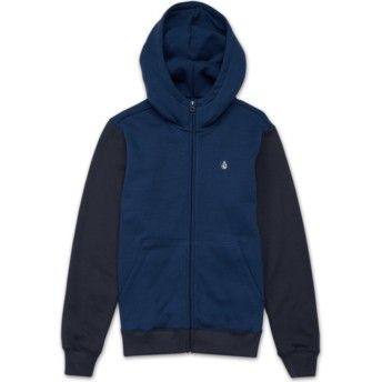Volcom Youth Matured Blue Single Stone Colorblock Navy Blue Zip Through Hoodie Sweatshirt