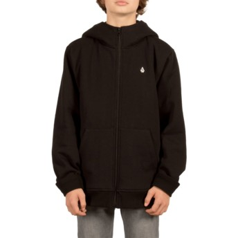 Volcom Youth Black Single Stone Black Zip Through Hoodie Sweatshirt