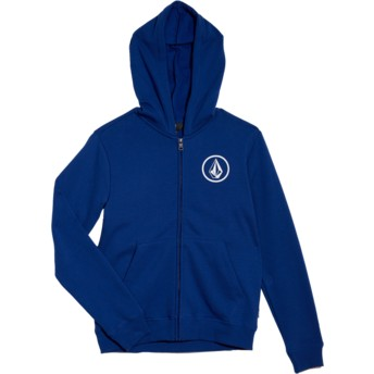 Volcom Youth Camper Blue Stone Blue Zip Through Hoodie Sweatshirt