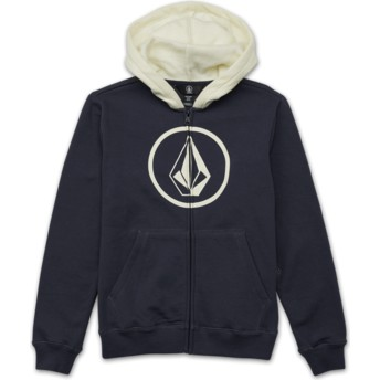 Volcom Youth Midnight Blue Stone Navy Blue Zip Through Hoodie Sweatshirt