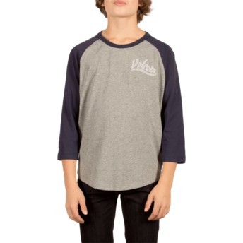 Volcom Youth Indigo Swift Grey and Navy Blue T-Shirt