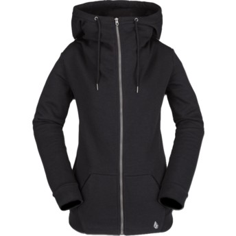 Volcom Black Walk On By Black Zip Through Hoodie Sweatshirt