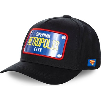 Capslab Curved Brim Superman Metropolis City Plate SUP1 DC Comics Black Snapback Cap