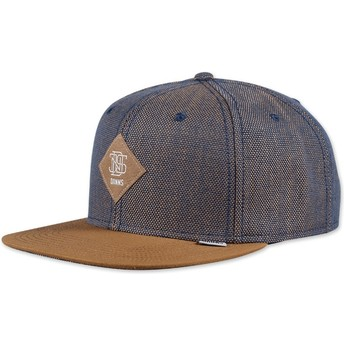 Djinns 6 Panel 2tone Oxford Blue and Brown Snapback Cap