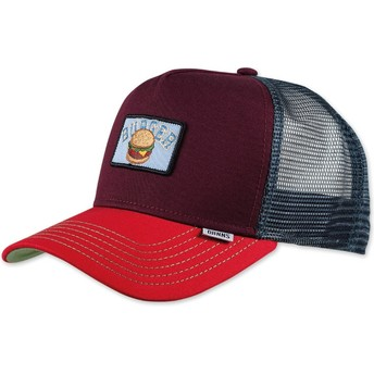 Djinns Food Burger Maroon, Blue and Red Trucker Hat