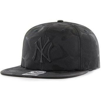 47 Brand Flat Brim New York Yankees MLB Captain Jigsaw Black Camouflage Snapback Cap