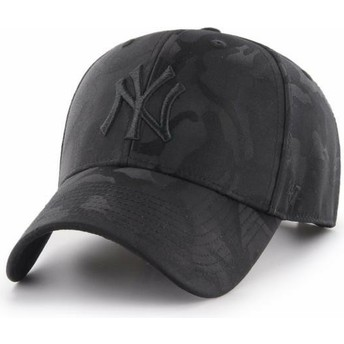 6cd2480f8cbbf 47 Brand Curved Brim New York Yankees MLB Clean Up Jigsaw Black Camouflage  Cap