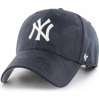 47 Brand Curved Brim New York Yankees MLB Clean Up Jigsaw Navy Blue Camouflage Cap