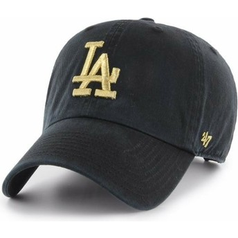 47 Brand Curved Brim Gold Logo Los Angeles Dodgers MLB Clean Up Metallic Black Cap
