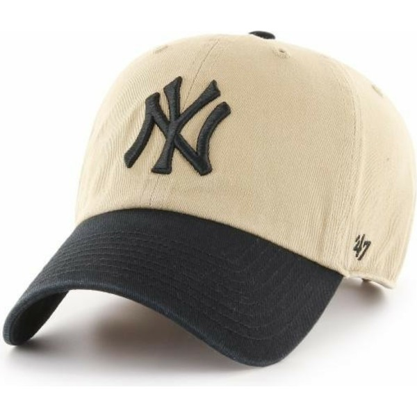 47-brand-curved-brim-black-logo-new-york-yankees-mlb-clean-up-two-tone-beige-cap-with-black-visor