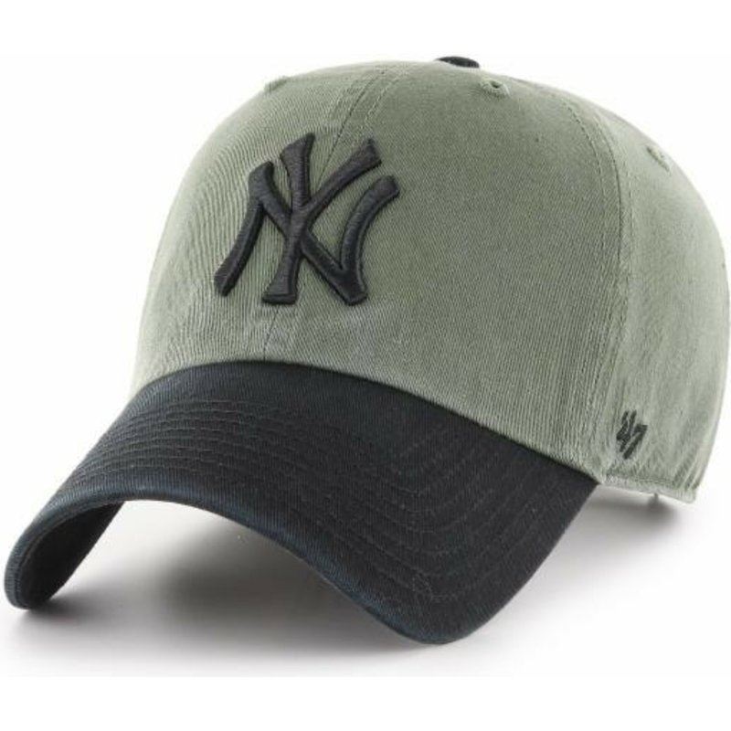 47-brand-curved-brim-black-logo-new-york-yankees-mlb-clean-up-two-tone-green-cap-with-black-visor
