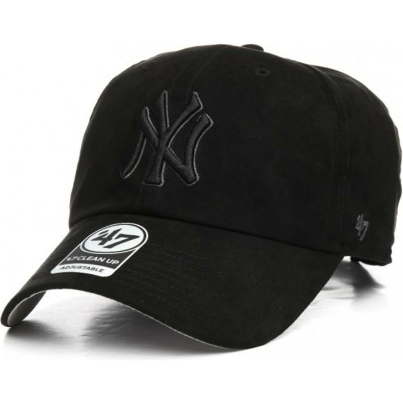 1a57c8c2aaf 47 Brand Curved Brim Black Logo New York Yankees MLB Clean Up Ultra ...