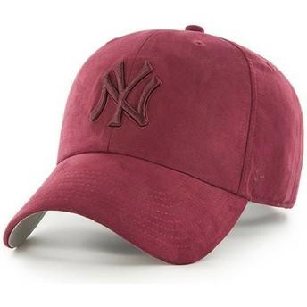 47 Brand Curved Brim Maroon Logo New York Yankees MLB Clean Up Ultra Basic Maroon Cap