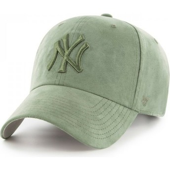 47 Brand Curved Brim Green Logo New York Yankees MLB Clean Up Ultra Basic Green Cap
