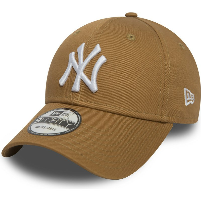 new-era-curved-brim-9forty-essential-new-york-yankees-mlb-light-brown-adjustable-cap
