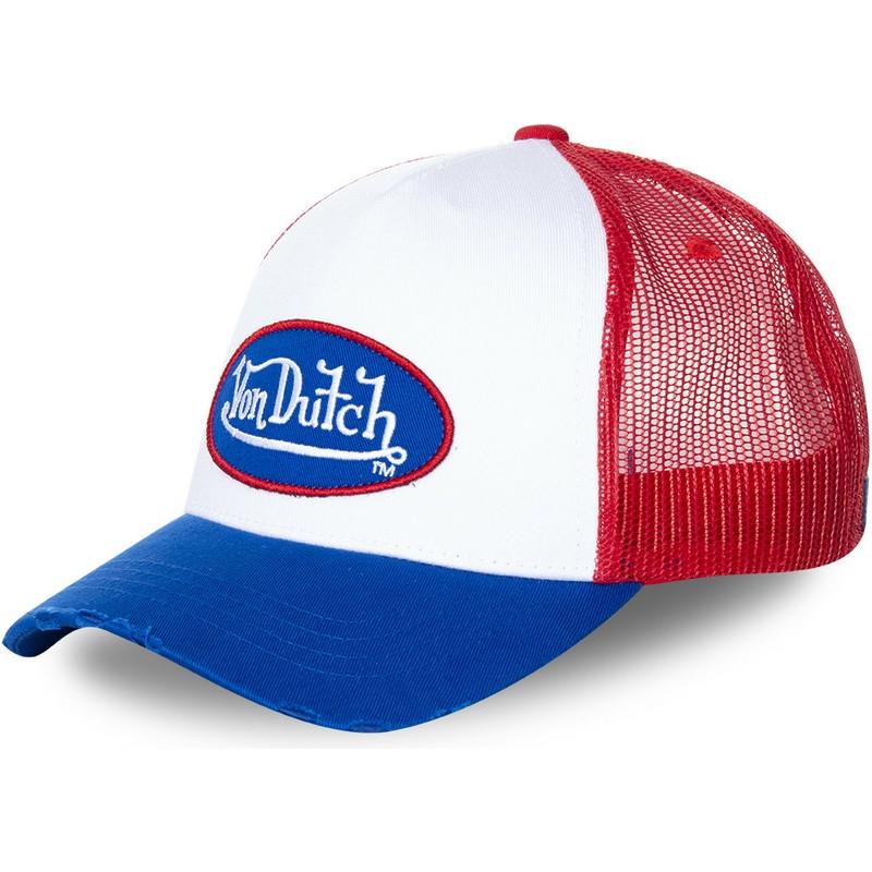 3157467fe4a01 Von Dutch TRUCK16 White, Red and Blue Trucker Hat: Shop Online at ...