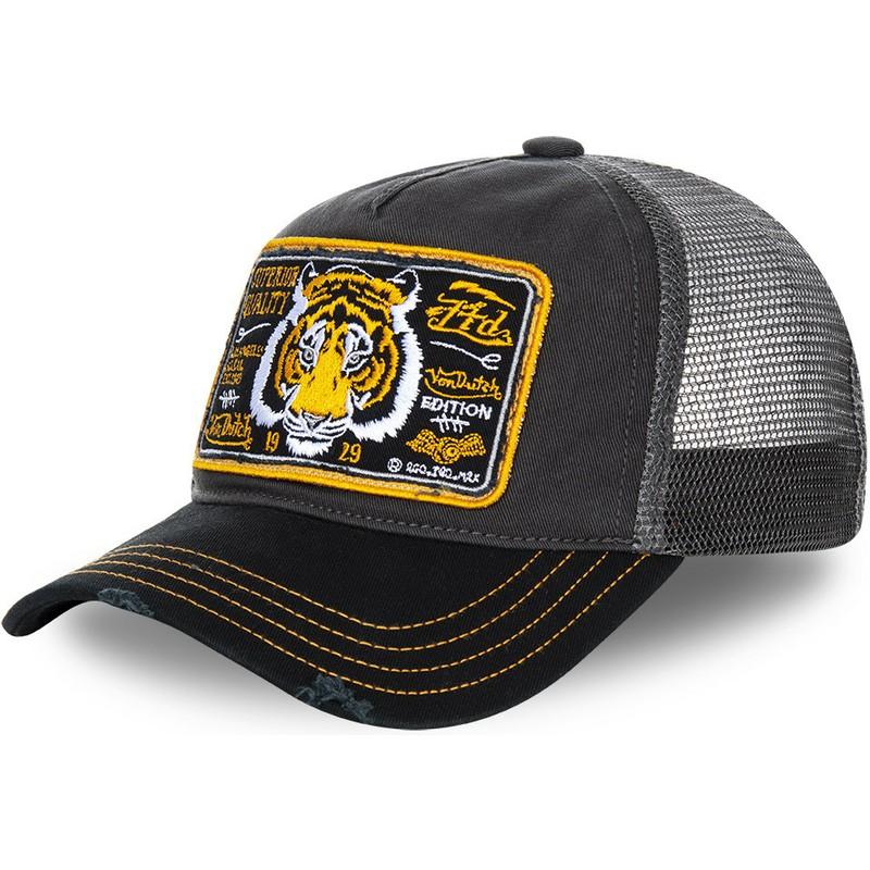 79c3f2bb9826b Von Dutch Tiger TRUCK13 Grey Trucker Hat   Shop Online at Caphunters