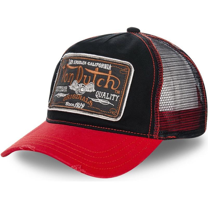 a9ed75cce845a Von Dutch TRUCK09 Black Trucker Hat with Red Visor  Shop Online at ...