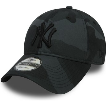 New Era Curved Brim Black Logo 9TWENTY Essential Packable New York Yankees MLB Black Camouflage Adjustable Cap