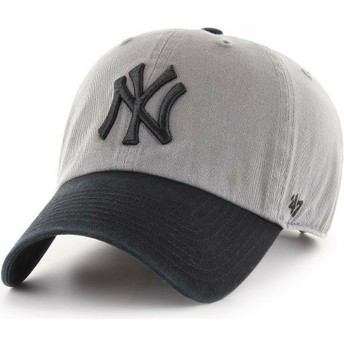 47 Brand Curved Brim Black Logo New York Yankees MLB Clean Up Two Tone Grey Cap with Black Visor
