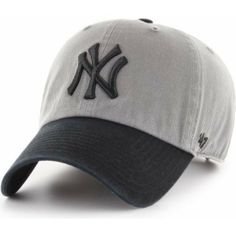 47 Brand Curved Brim Black Logo New York Yankees MLB Clean Up Two ... 302d62fa8d0