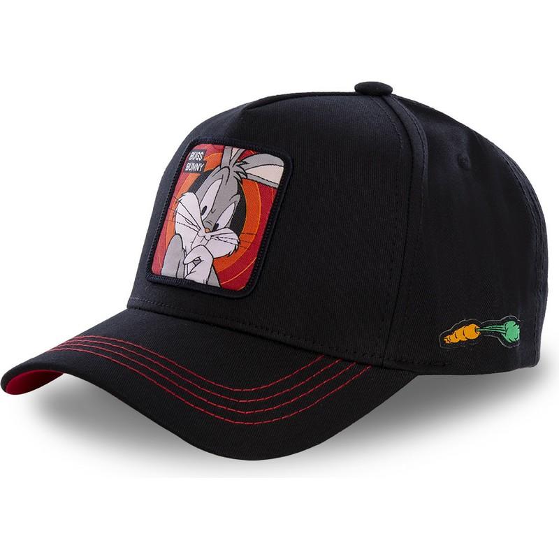 Capslab Curved Brim Bugs Bunny BUG2 Looney Tunes Black Snapback Cap ... a8ab019b02d
