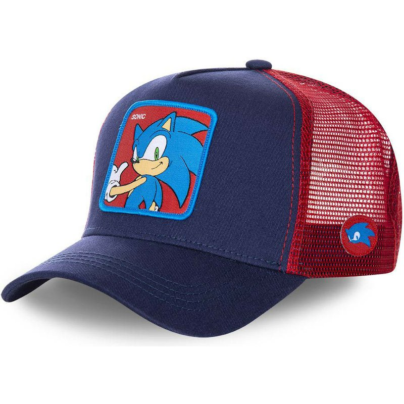 Capslab Sonic SO1 Sonic the Hedgehog Navy Blue and Red Trucker Hat ... 124cb4d2759