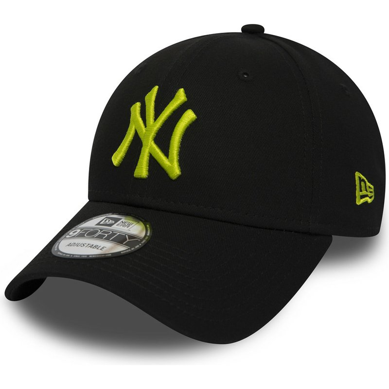 new-era-curved-brim-green-logo-9forty-essential-de-new-york-yankees-mlb-black-adjustable-cap