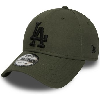 New Era Curved Brim Black Logo 9FORTY Essential de Los Angeles Dodgers MLB Green Adjustable Cap
