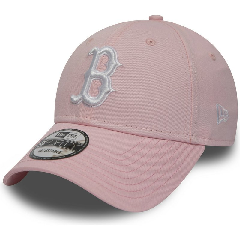 new-era-curved-brim-9forty-essential-de-boston-red-sox-mlb-pink-adjustable-cap