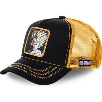 Capslab Son Gohan Super Saiyan 2 DBZSUP Dragon Ball Black and Yellow Trucker Hat