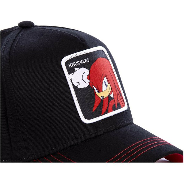 capslab-curved-brim-knuckles-the-echidna-knub-sonic-the-hedgehog-black-snapback-cap