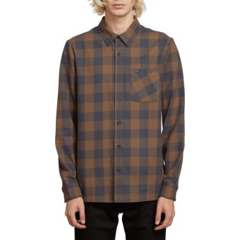 Volcom Mushroom Joneze Blue and Brown Long Sleeve Check Shirt
