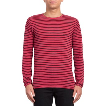 Volcom Burgundy Harweird Stripe II Red Sweatshirt