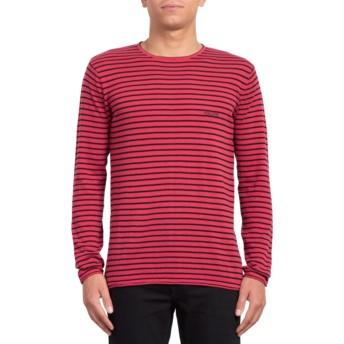 Volcom Burgundy Harweird Stripe II Red Sweatshirt