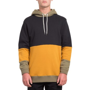 Volcom Black Single Stone Division Black, Yellow and Grey Hoodie Sweatshirt