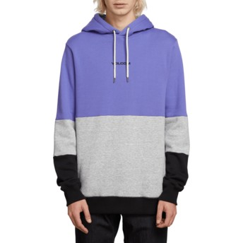 Volcom Dark Purple Single Stone Division Purple, Grey and Black Hoodie Sweatshirt