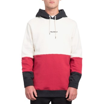 Volcom Off White Single Stone Division White, Red and Black Hoodie Sweatshirt