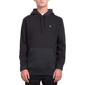 Volcom Pocket Black Single Stone Black Hoodie Sweatshirt