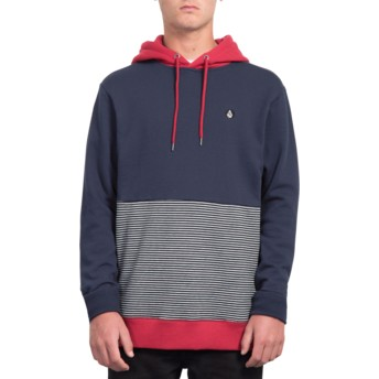 Volcom Navy Forzee Navy Blue and Red Hoodie Sweatshirt