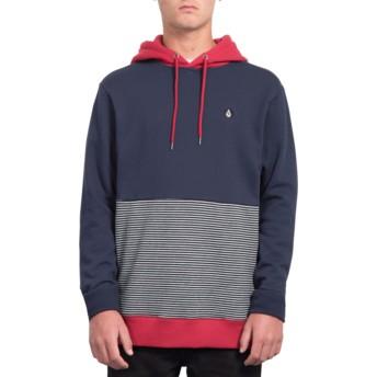 Volcom Navy Forzee Navy Blue and Red Hoodie Sweatshirt